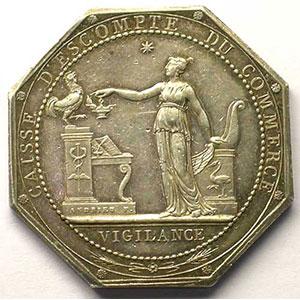 Jeton octogonal en argent   AN VI    TTB