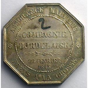 Jeton octogonal en argent   Assurances Maritimes   1843    SUP/FDC