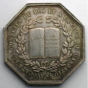 Jeton octogonal en argent   Avocats aux conseils du Roi et à la cour de cassation   Louis XVIII    SUP