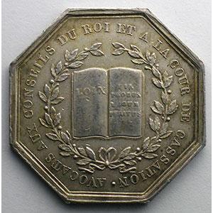 Jeton octogonal en argent   Avocats aux conseils du Roi et à la cour de cassation   Louis XVIII    TTB+/SUP
