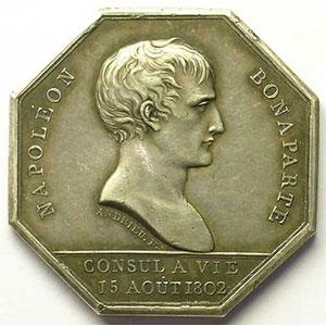 Jeton octogonal en argent   Bonaparte consul à vie    TTB+/SUP