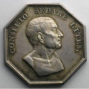 jeton octogonal en argent   Chambre des Avoués du Tribunal Civil de Sens (Yonne)   1827    TTB+/SUP