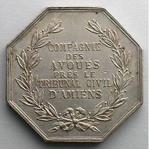 jeton octogonal en argent   Compagnie des Avoués près le Tribunal Civil d'Amiens    SUP