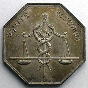 jeton octogonal en argent   Conseil de Prud'Hommes de Rouen    TTB+