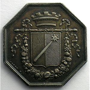 Jeton octogonal en argent   Conseil Municipal   1821    TTB+