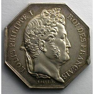 Jeton octogonal en argent   Louis-Philippe I   1838    SUP/FDC