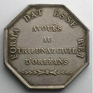 jeton octogonal en argent   Louis-Philippe I   Avoués au Tribunal Civil d'Orléans    TTB+/SUP