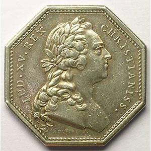 Jeton octogonal en argent   Louis XV   1768    TTB