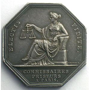 jeton octogonal en argent   Louis XVIII   Paris    SUP