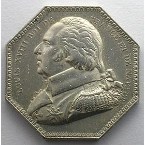 Jeton octogonal en argent   Louis XVIII    TTB/TTB+