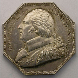 Jeton octogonal en argent   Louis XVIII    TTB+/SUP