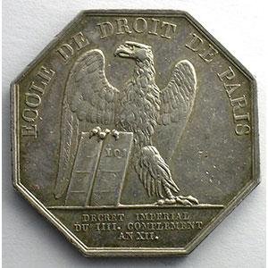 jeton octogonal en argent   Napoléon I   An XII (1804)    TTB
