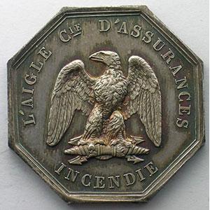 Jeton octogonal en argent   Napoléon III   Incendie    SUP