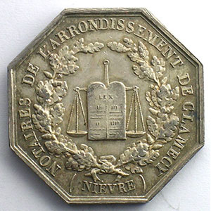 Jeton octogonal en argent   Napoléon III    SUP/FDC