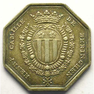 Jeton octogonal en argent    TB+/TTB