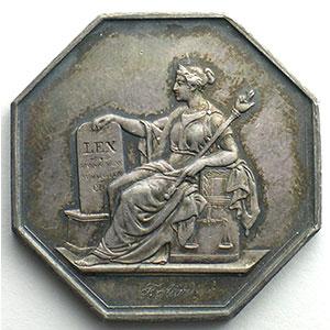 jeton octogonal en argent   tribunal de Ière instance de Paris   1849    SUP