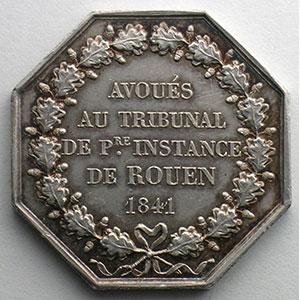 jeton octogonal en argent   tribunal de Ière instance de Rouen   1841    SUP