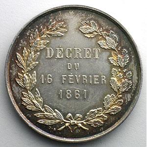 Jeton rond en argent   1861    SUP/FDC