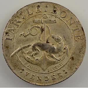 Jeton rond en argent   27mm   Louise Pauline Françoise Cléontine Bailly du Pont    La Châtaigneraie   Vendée   1856    SUP