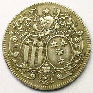 Jeton rond en argent   28,5mm   1736    TTB