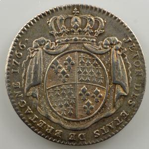 jeton rond en argent  28mm   Louis XV   Etats de Bretagne   1766    TTB+