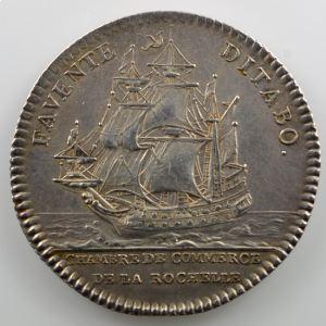 Jeton rond en argent  29mm   Louis XV   Chambre de Commerce de La Rochelle    TTB+/SUP