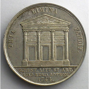 jeton rond en argent   33mm   Académie royale des sciences, des lettres et des arts de Rouen    SUP