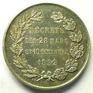 Jeton rond en argent   36 mm   1852    SUP