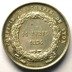 Jeton rond en argent   37mm   1854    TTB+
