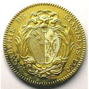 Jeton rond en argent doré   33mm   Académie de Stanislas   1750    SUP