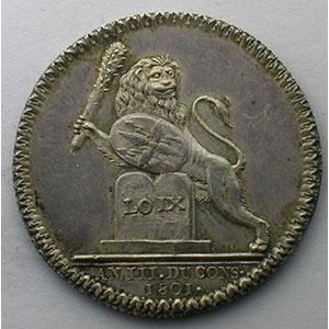 jeton rond en argent   Justice de Lyon   1801    TTB+/SUP