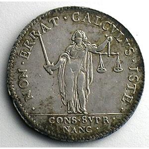Jeton rond en argent   Louis XIII   1636   Conseil suprême de Nancy    TTB