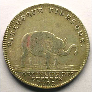 jeton rond en argent   Louis XIV   1702    TB+/TTB
