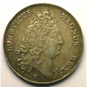 jeton rond en argent   Louis XIV   1711    TTB