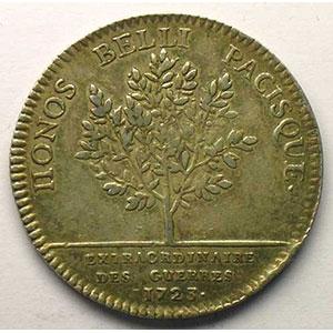 jeton rond en argent   Louis XV   1723    TTB