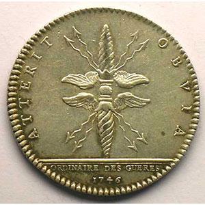 jeton rond en argent   Louis XV   1746    TTB