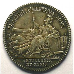 jeton rond en argent   Louis XV    SUP  rayures à l'avers