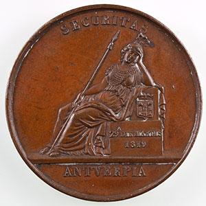 Jeton rond en bronze   30mm   1819   Anvers    TTB+