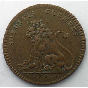 jeton rond en cuivre   1714    TTB