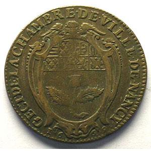Jeton rond en cuivre   28mm   Charles IV   1669    TB+