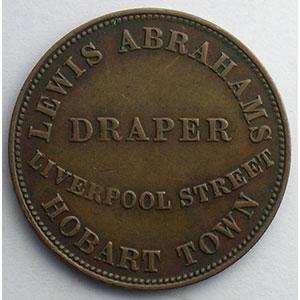 Jeton rond en cuivre  28mm   Tasmanie, Hobart   Lewis Abrahams, Draper   1855    TB+/TTB