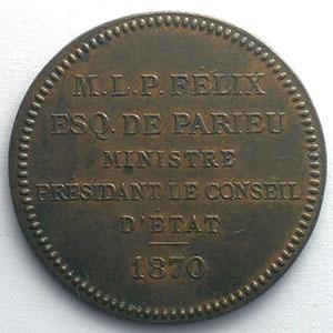 jeton rond en cuivre  32,2mm   Félix de Parieu, Ministre présidant le Conseil d'Etat   1870    TTB+