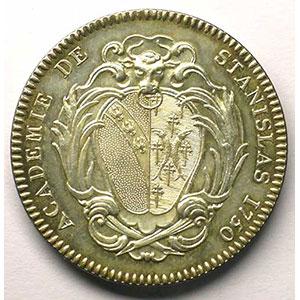 Jeton rond en cuivre argenté   33mm   Académie de Stanislas   1750    SUP