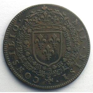 Jeton rond en cuivre   Louis XIV    TTB+
