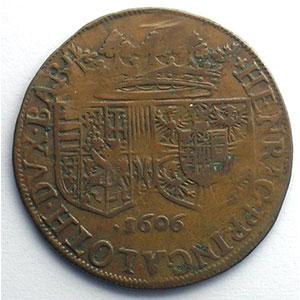 Jeton rond en cuivre   Union du futur Duc et de Marguerite de Gonzague   1606    TTB