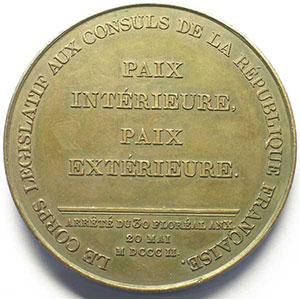 JEUFFROY   Promulgation du traité d'Amiens   1802   bronze   68 mm    TTB+