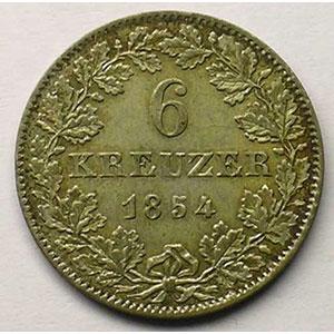 KM 350   6 Kreuzer   1854    TTB+