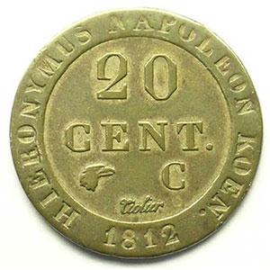KM C26   20 Cent.   1812 C  (Cassel)    TTB