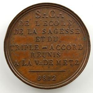 L'école de la Sagesse et le triple accord réunis   Jeton rond en bronze  24mm   1812    TTB