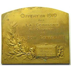 Lamourdedieu 1919   Plaque en bronze rectangulaire   75x64mm   Centenaire de la Compagnie    TTB+